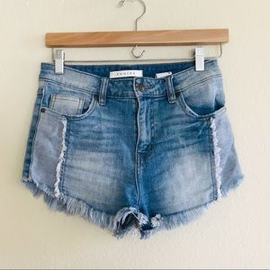 Lulu's Eunina Denim High Waist Shorts SZ S